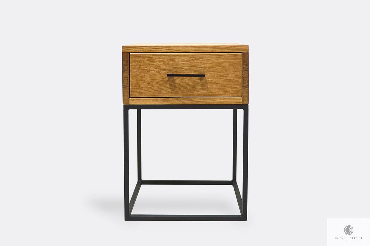 Nachttisch aus Massivholz und Metall Loft ins Schlafzimmer MERIS