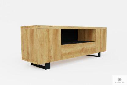 TV Tisch aus Massiveichenholz und Metall DELIO