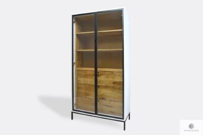 Holz Glas Vitrine mit Schubladen und Regale ins Arbeitzimmer CARLA II