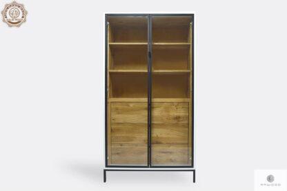 Holz Vitrine mit Regale und Schubladen ins Wohnzimmer CARLA II