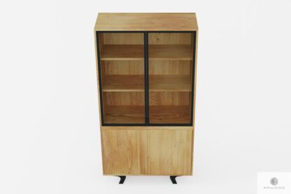 Design Vitrine aus Massivholz und Stahl loft industrielle ins Esszimmer VITA
