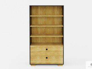 Großes Holz Bücherregal mit Schubladen und Regale ins Wohnzimmer CARLA